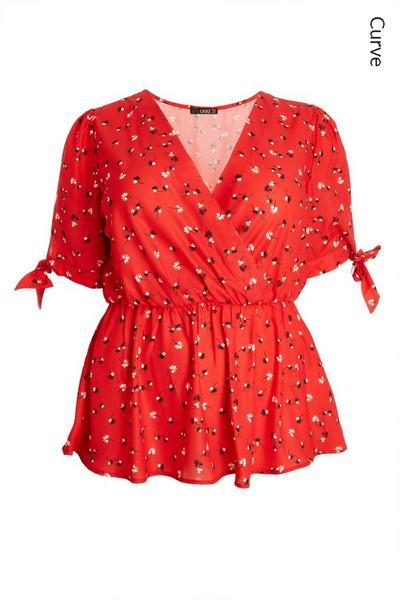 Curve Red Floral Peplum Top
